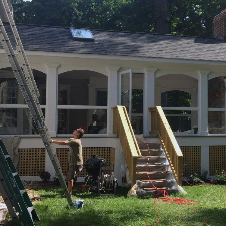 Remodeling contractor working on a home addition