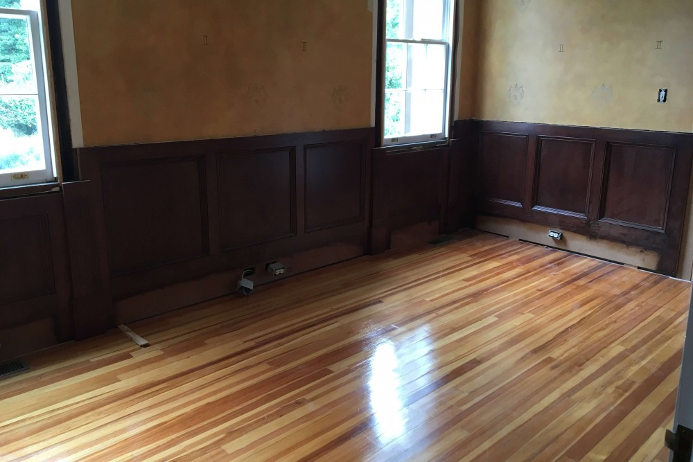 Wood flooring and wall molding