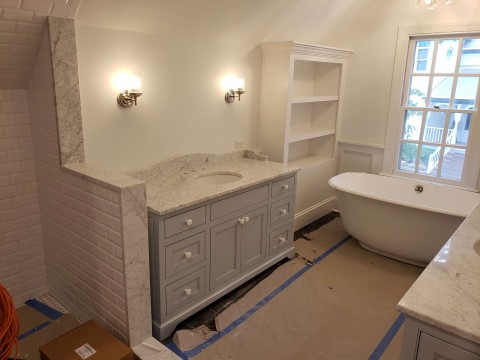 Custom cabinets with tub