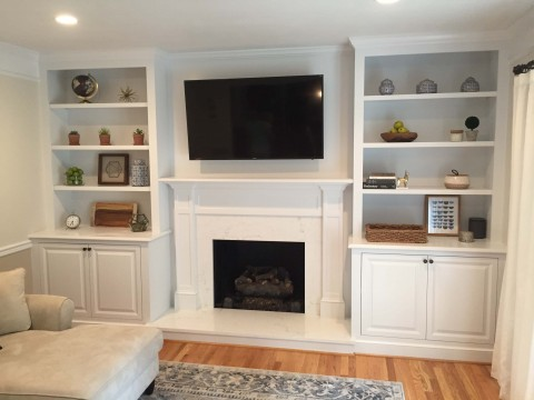 Church Rd Bookcases mantle & hearth