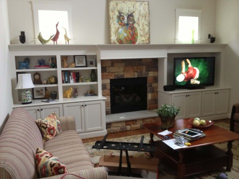 Living room entertainment center and fireplace