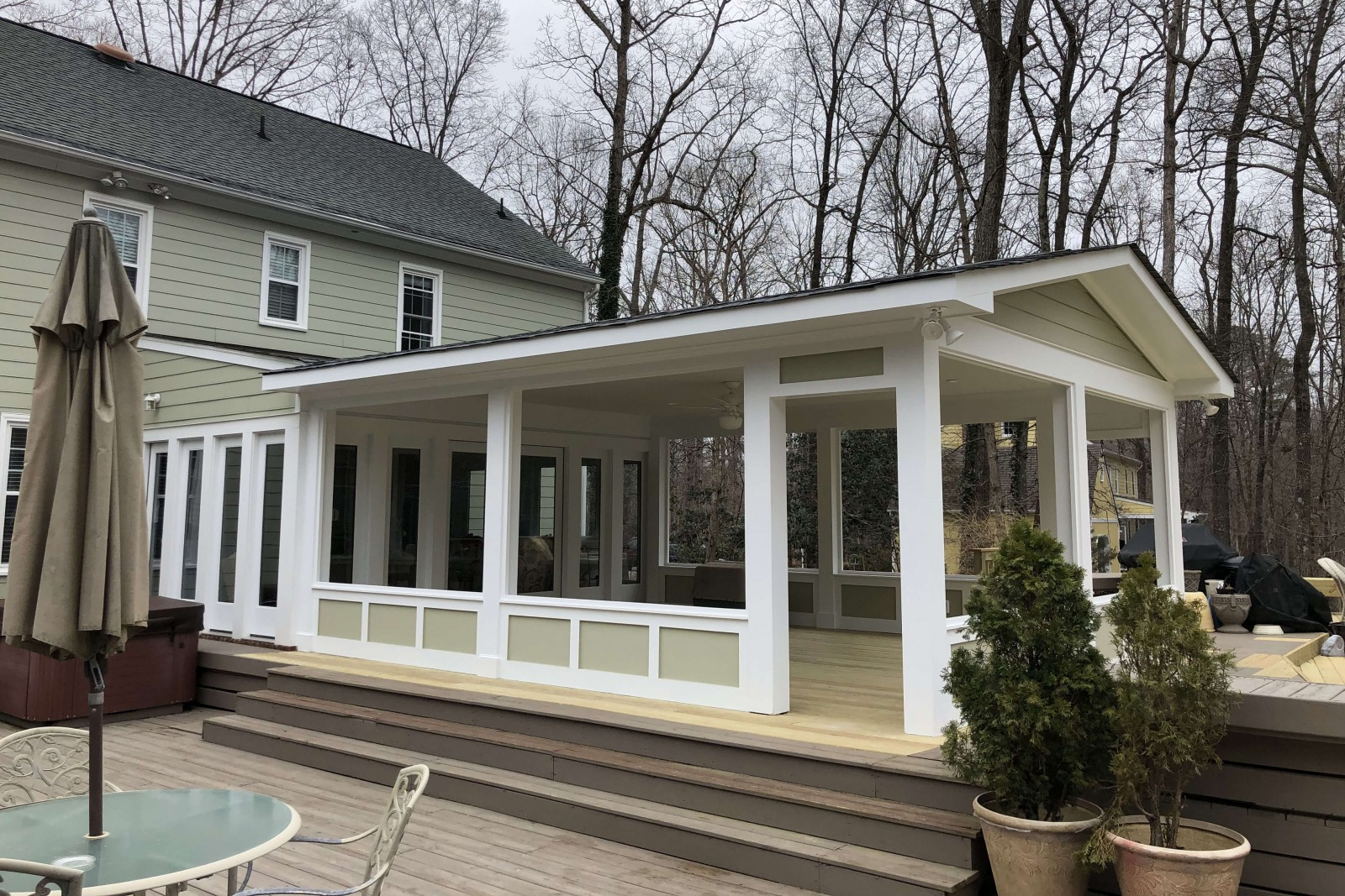 Covered porch and outdoor deck